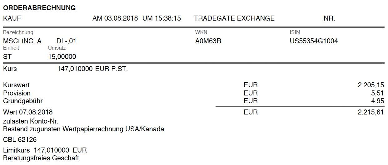 Die Originalabrechnung des Kaufs von MSCI Inc.-Aktien im August 2018