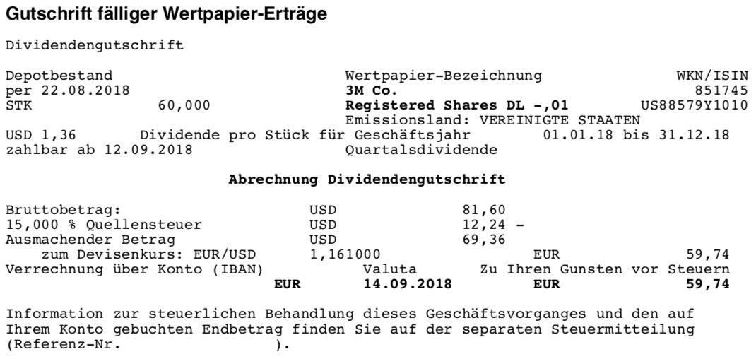 Die Originalabrechnung der 3M-Dividende im September 2018