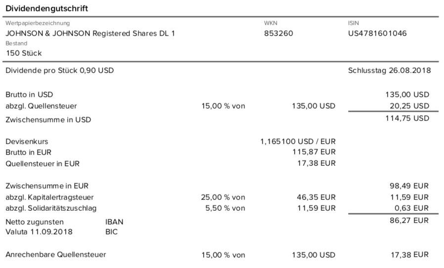 Die Originalabrechnung der JNJ-Dividende im September 2018