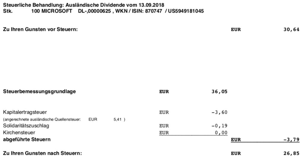 Die Originalabrechnung der Steuerberechnung der Microsoft-Dividende im September 2018