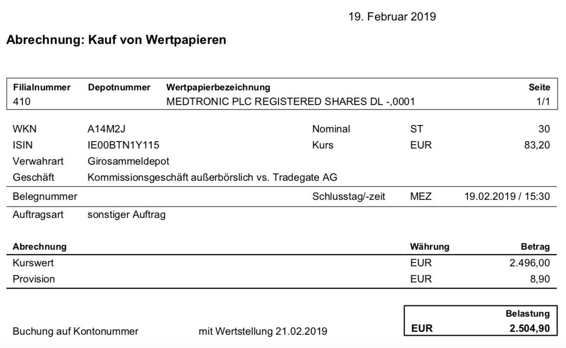 Die Originalabrechnung vom Kauf der Medtronic-Aktie im Februar 2019