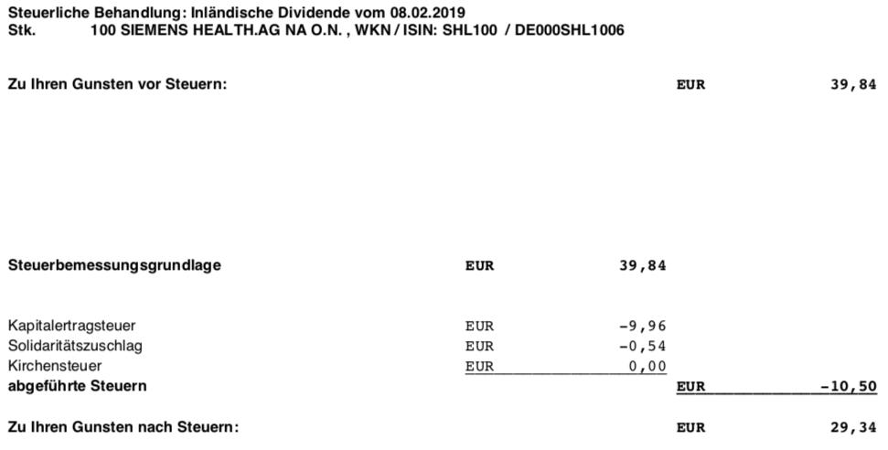 Die Orginalabrechnung der Siemens Healthineers Dividende im Februar 2019 Steuer