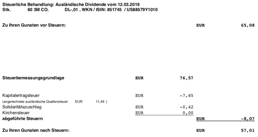 Die Originalabrechnung der 3M-Dividende im März 2019