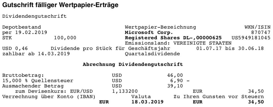 Originalabrechnung der Microsoft-Dividende im März 2019