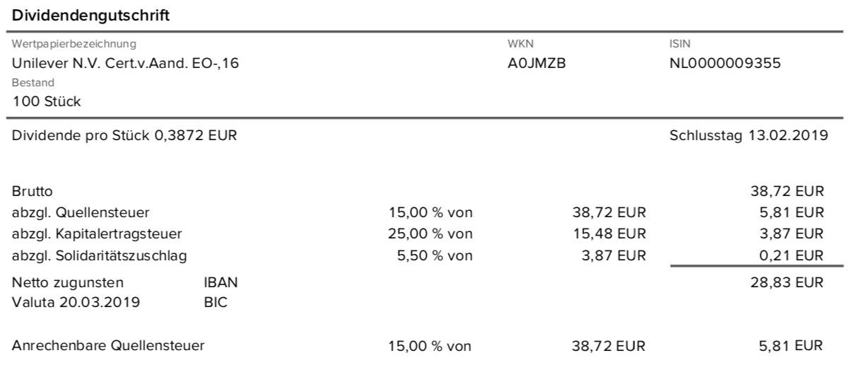 Originalabrechnung der Unilever-Dividende im März 2019