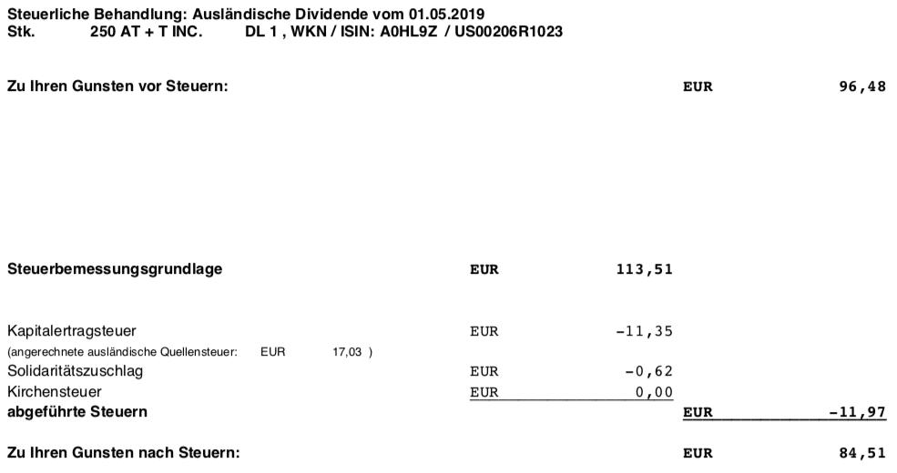 Steuer Originaldividendenabrechnung AT&T Mai 2019