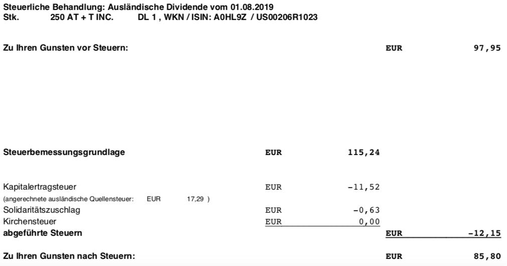 Steuerabrechnung der Dividendenzahlung von AT&T im August 2019
