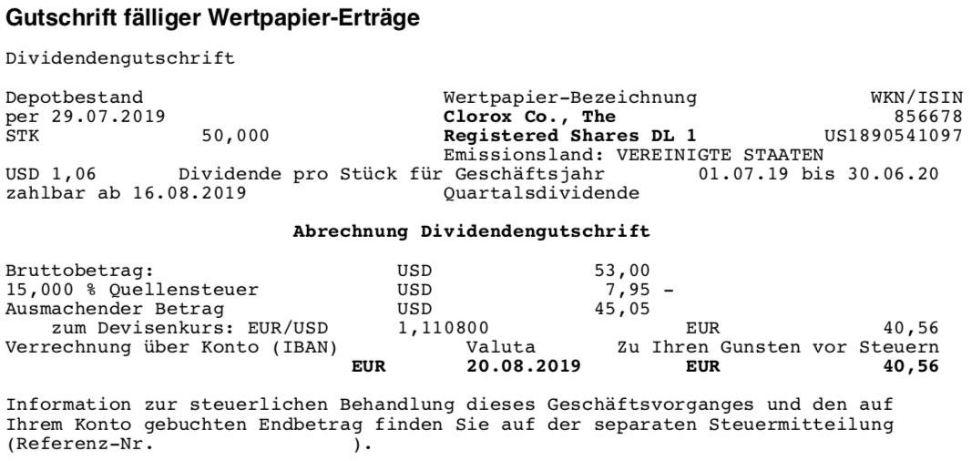 Originalabrechnung Dividendenzahlung Clorox im August 2019