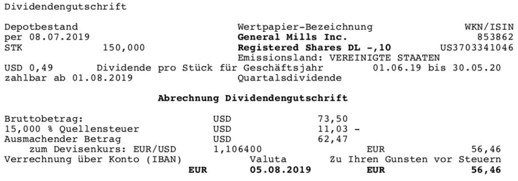Originaldividendenabrechnung General Mills im August 2019