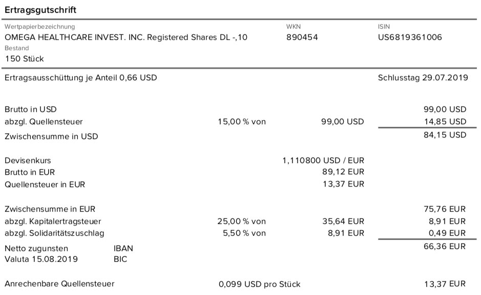 Originalabrechnung Dividendenzahlung Omega Healthcare Investors im August 2019