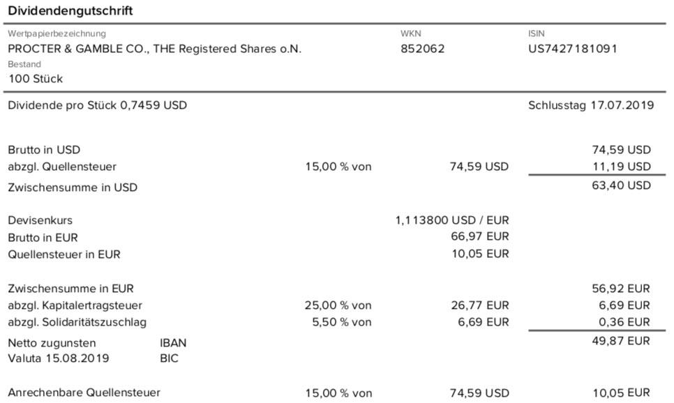 Originalabrechnung Dividendenzahlung Procter & Gamble im August 2019