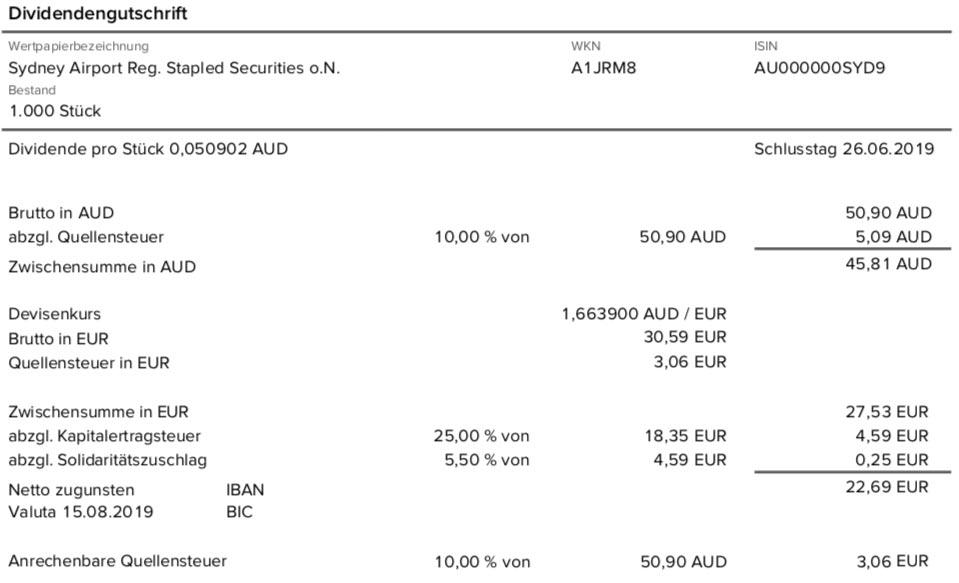 Originalabrechnung Dividendenzahlung Sydney Airport Teil 2 im August 2019