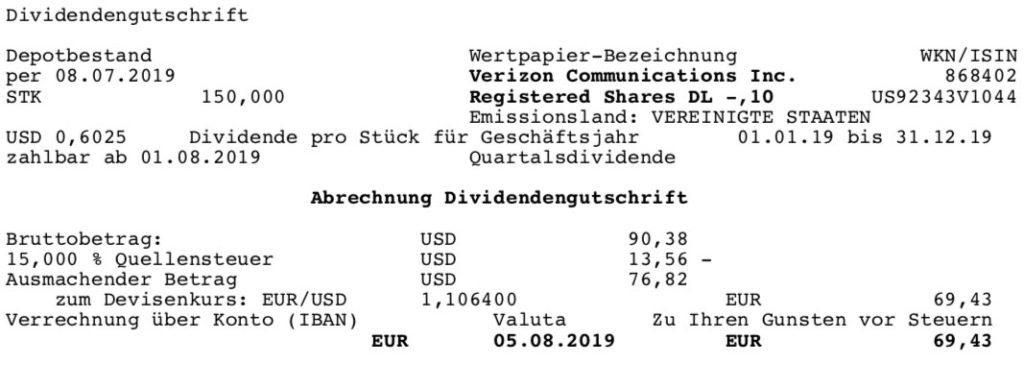 Originaldividendenabrechnung Verizon im August 2019