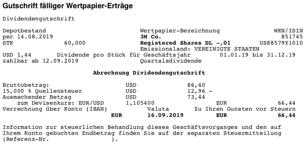 Originalabrechnung Dividendenzahlung 3M im September 2019