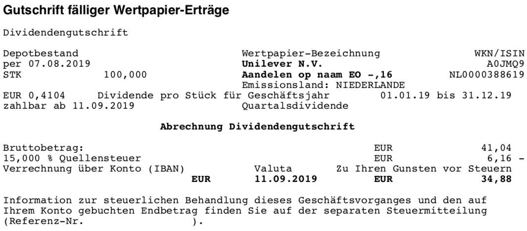 Originalabrechnung Dividendenzahlung Unilever im September 2019
