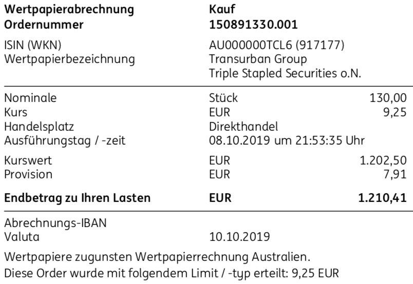 Originalabrechnung Kauf Transurban Group im Oktober 2019