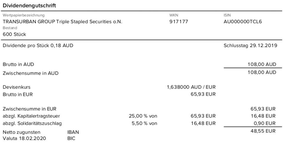 Dividendenabrechnung Transurban Group im Februar 2020 mit 0% Quellensteuer