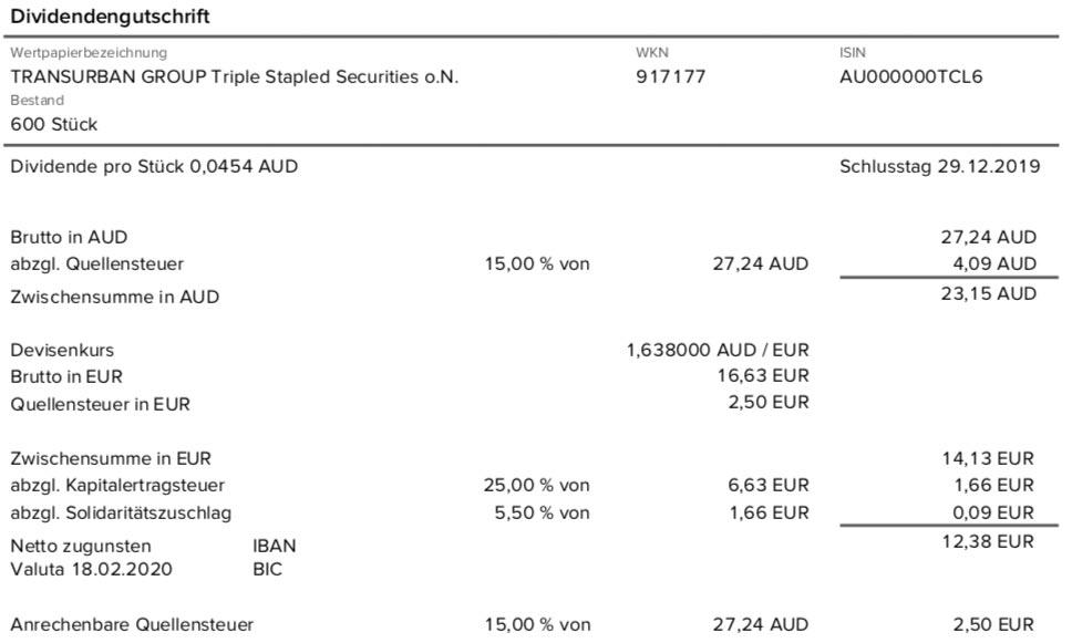 Dividendenabrechnung Transurban Group im Februar 2020 mit 15% Quellensteuer