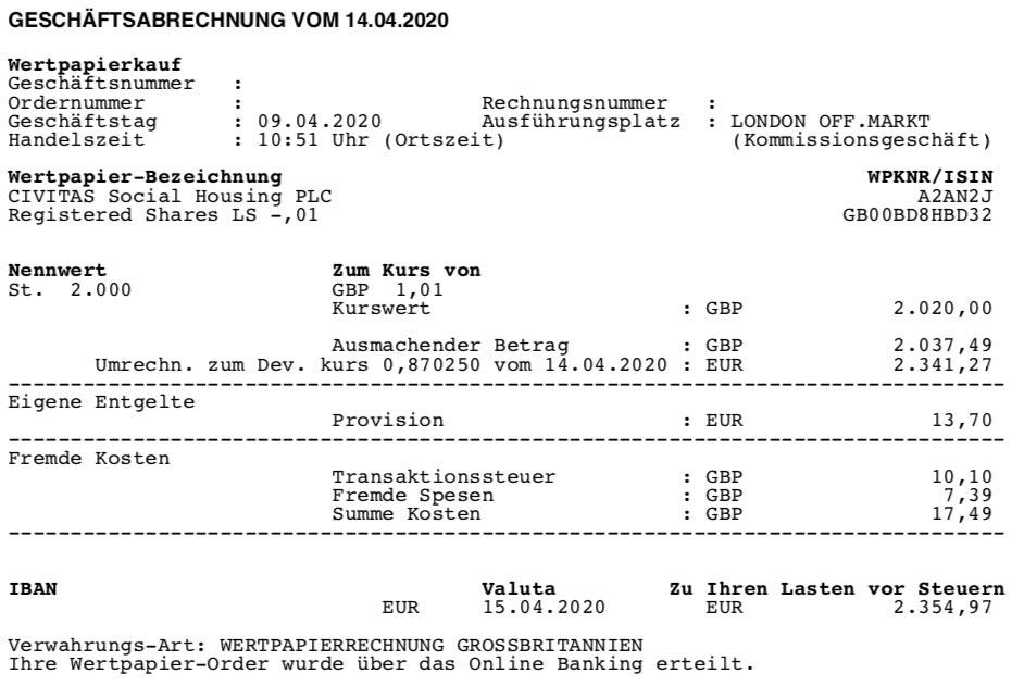 Kaufabrechnung Aktien Civitas Social Housing im April 2020