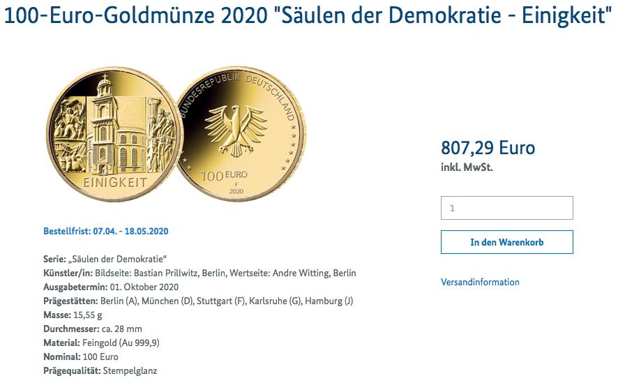 Goldmünze Einigkeit