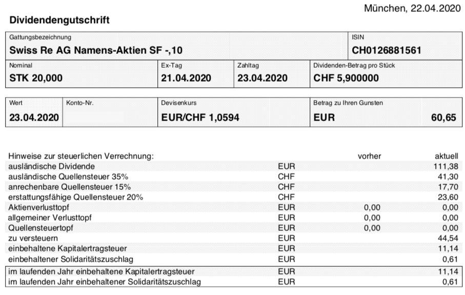 Dividendengutschrift Swiss Re im April 2020 Smartbroker