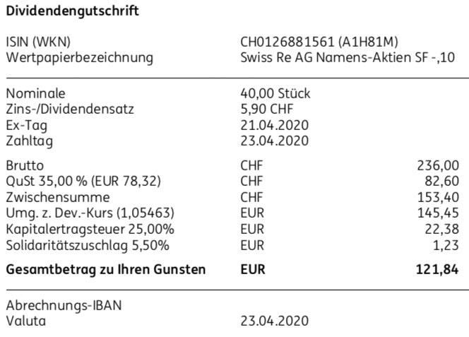 Dividendengutschrift Swiss Re im April 2020 bei der ING