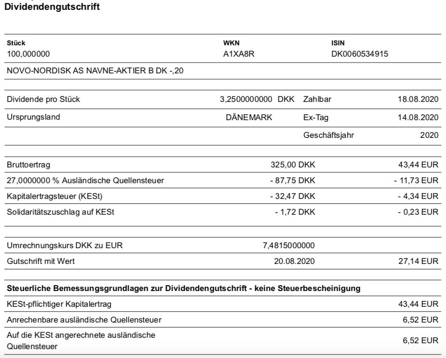 Dividendengutschrift Novo Nordisk im August 2020