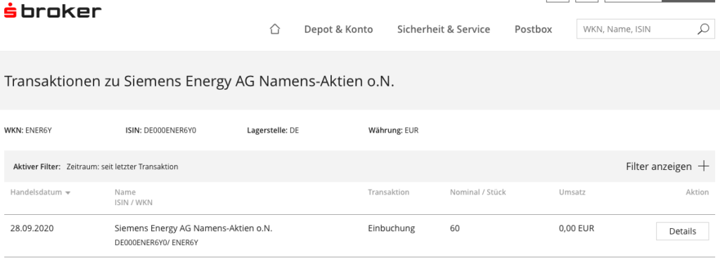 Siemens Energy Einbuchung Namens-Aktien