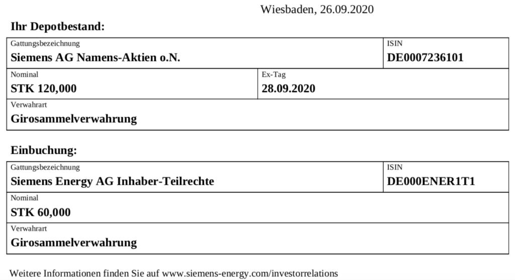 Siemens Energy Teilrechte Einbuchung