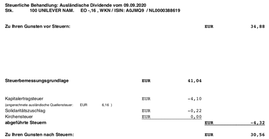 Dividendengutschrift Unilever im September 2020 Steuerabrechnung