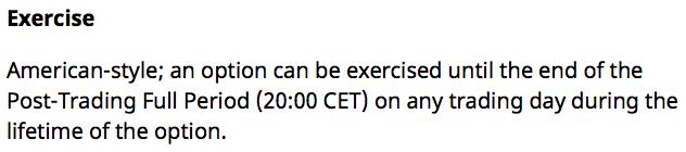 Beispiel für die Ausübungsbedingungen einer Option an der EUREX