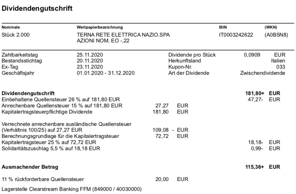Terna Dividendenzahlung im November 2020