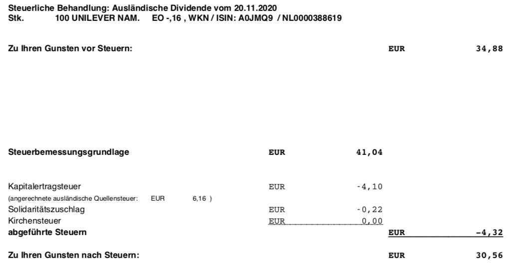 Dividendengutschrift Unilever Steuerabzug im November 2020
