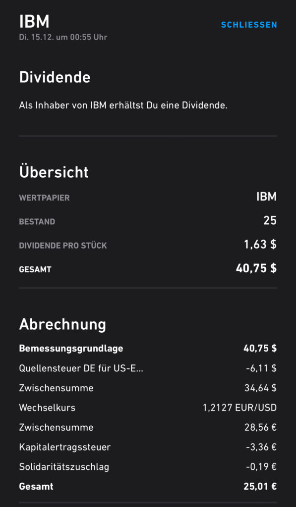 Screenshot Dividendengutschrift IBM im Dezember 2020