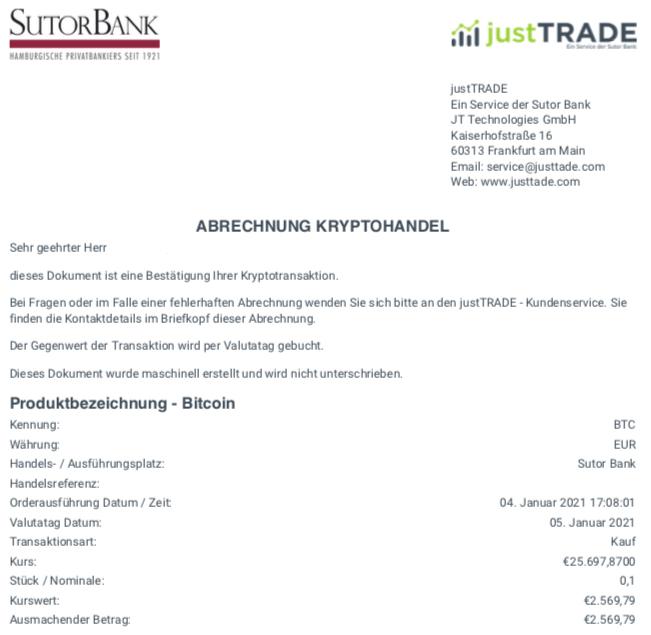 Kaufabrechnung justTRADE 0,1 BTC im Januar 2021