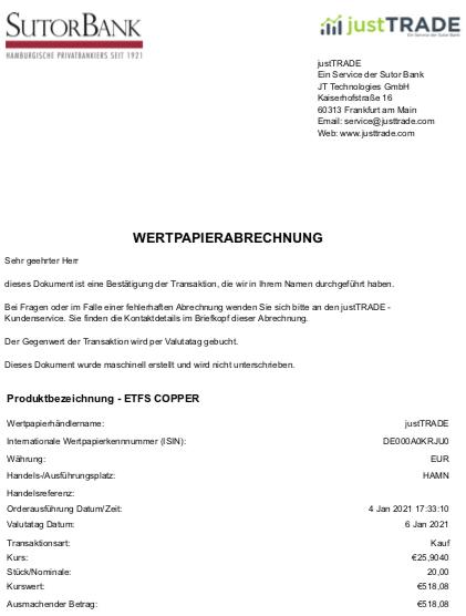 Wertpapierabrechnung ETC Copper im Januar 2021