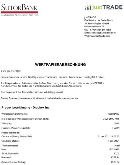 Wertpapierabrechnung Dropbox im Januar 2021