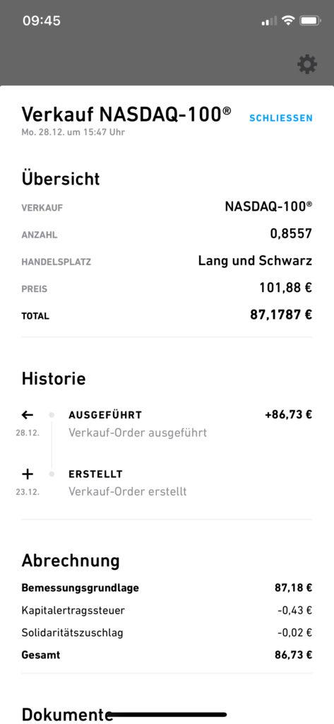 Nasdaq 100-ETF Sparplan Verkauf der Bruchstücke
