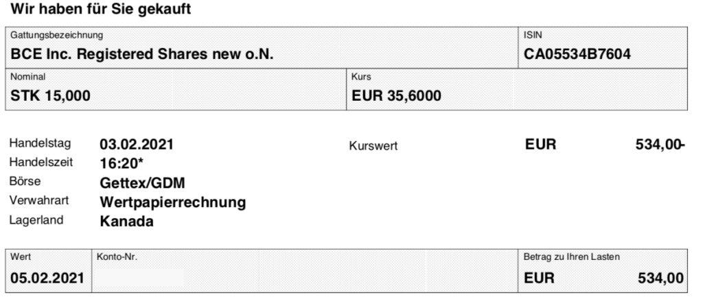 Kaufabrechnung BCE im Februar 2021