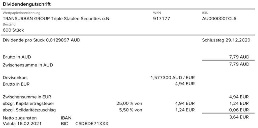 Dividendengutschrift Transurban Group im Februar 2021 mit 0% Quellensteuer
