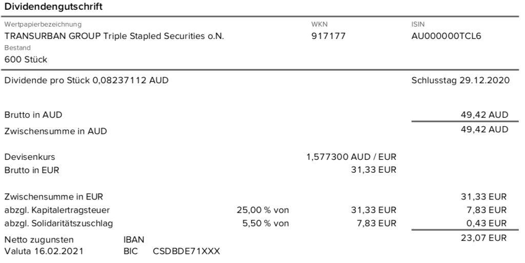 Dividendengutschrift Transurban Group im Februar 2021 ohne Quellensteuer