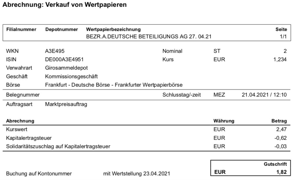 Verkauf von Bezugsrechten Deutsche Beteiligungs AG im April 2021