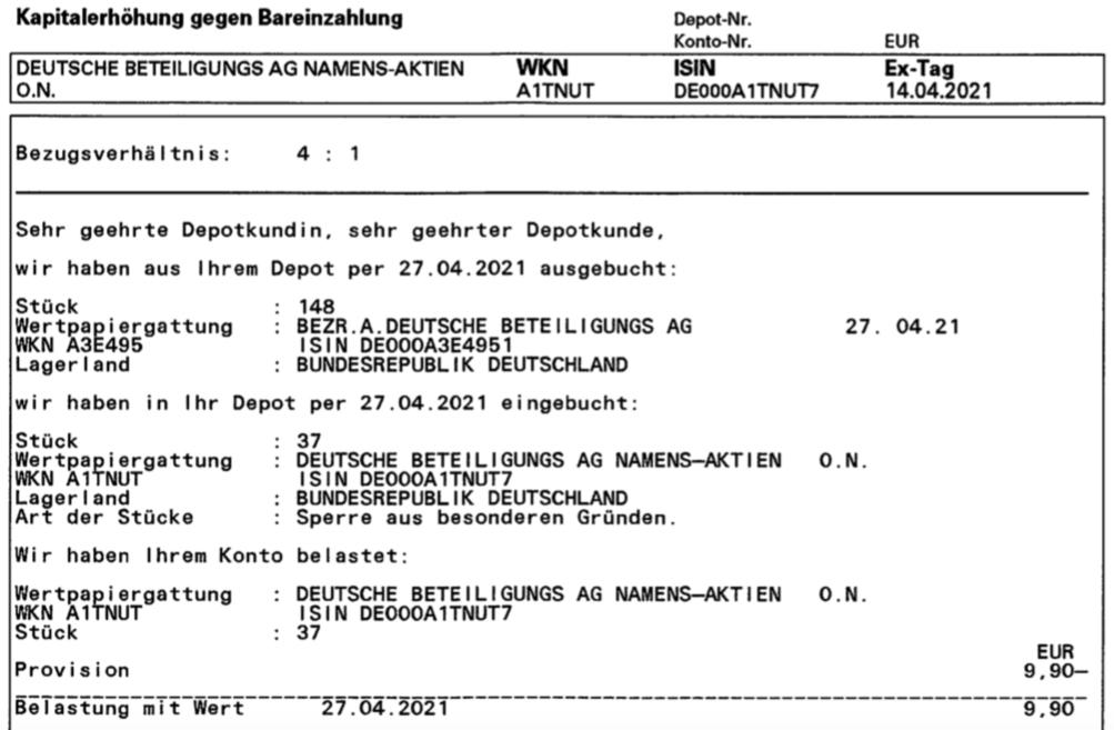 Abrechnung der Kapitalerhöhung der Deutsche Beteiligungs AG im April 2021 1. Seite