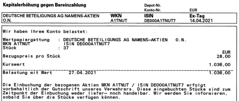 Abrechnung der Kapitalerhöhung der Deutsche Beteiligungs AG im April 2021 2. Seite