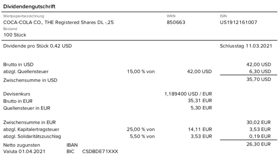 Dividendengutschrift Coca-Cola im April 2021 bei der Consorsbank