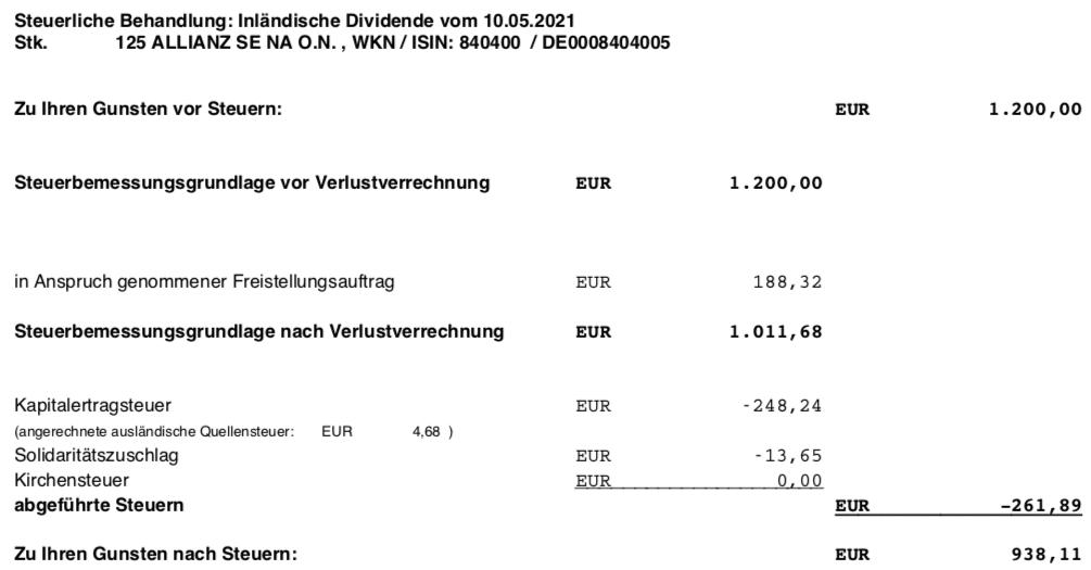 Dividendengutschrift Allianz im Mai 2021 Steuerabrechnung