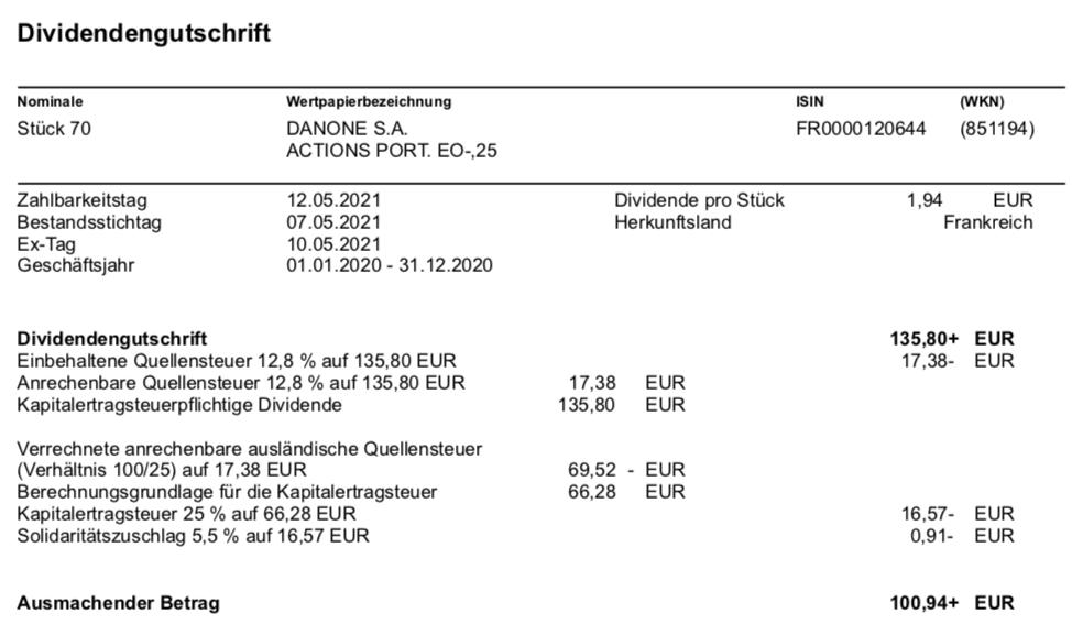 Dividendengutschrift Danone im Mai 2021