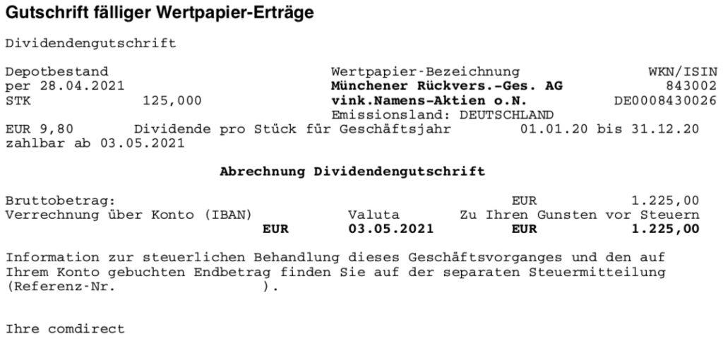Dividendengutschrift Munich Re im Mai 2021