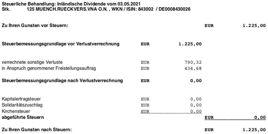 Dividendengutschrift Munich Re im Mai 2021 Steuer