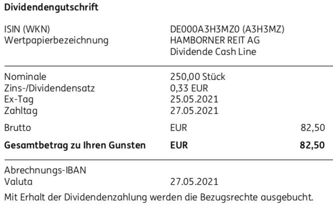 Dividendengutschrift Hamborner REIT im Mai 2021 Teil 1